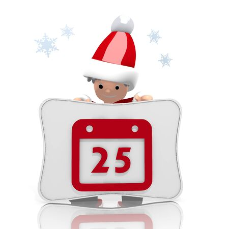 santaclaus: a childish Santa Claus boy character presents a calendar label on a board isolated on white background with snowflakes