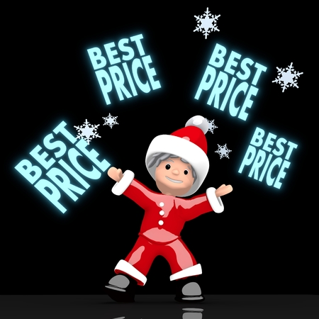 lowest: a lowest price Santa Claus boy rendered 3d character juggles four blue glaring best price sign isolated on black background with snowflakes
