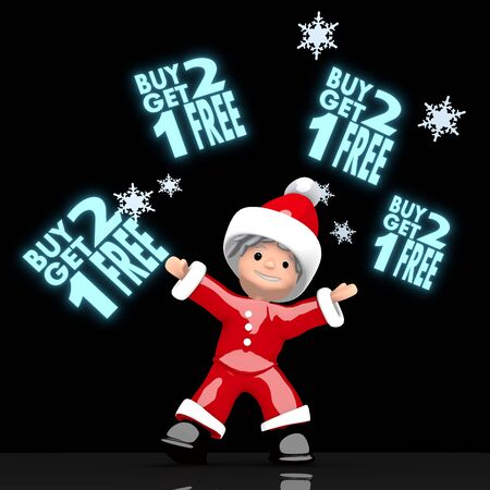 get one: a cute Santa Claus boy rendered 3d character juggles four blue glaring buy two get one free label isolated on black background with snowflakes