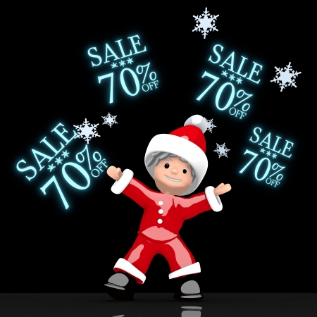 a little Santa Claus boy rendered 3d character juggles four blue glaring Christmas sale 70 percent off label isolated on black background with snowflakes photo