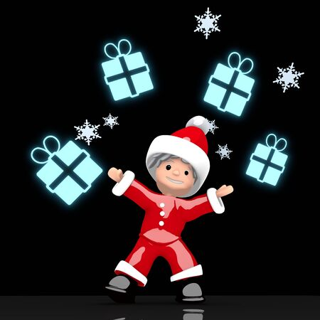 a little Santa Claus boy rendered 3d character juggles four blue glaring gift symbol isolated on black background with snowflakes photo