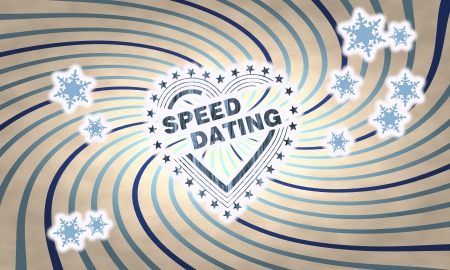 speed dating: festive wooden vintage speed dating symbol on on old style retro background with snowflakes