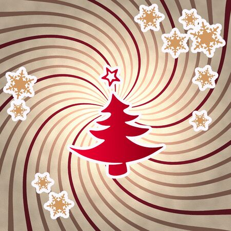 autumnn: decorative wooden vintage abstract christmas tree symbol on old style retro background with snowflakes