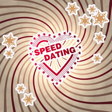 speed dating: seasonal wooden vintage speed dating label on old style retro background with snowflakes Stock Photo