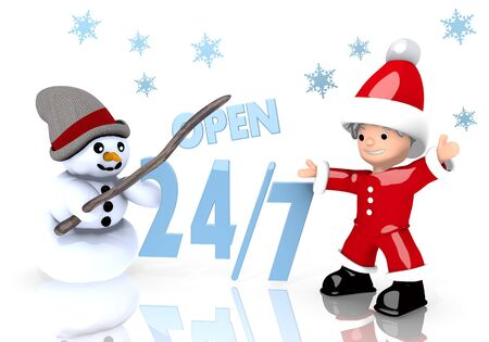 a 3d rendered cute Santa Claus and a snowman present a open sign isolated on white background with snowflakes photo