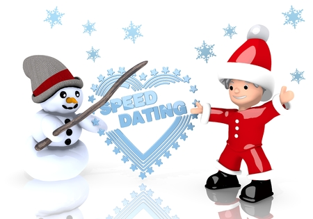 speed dating: a 3d rendered cute Santa Claus and a snowman present a speed dating sign isolated on white background with snowflakes Stock Photo