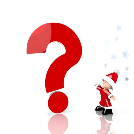 unresolved: a unclear Santa Claus boy standing in front of a huge question label isolated on white background with snowflakes Stock Photo
