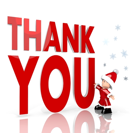 a cute Santa Claus boy standing in front of a huge thank you label isolated on white background with snowflakes photo