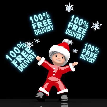 juggles: a cute Santa Claus boy rendered 3d character juggles four blue glaring 100 percent free delivery sign isolated on black background with snowflakes