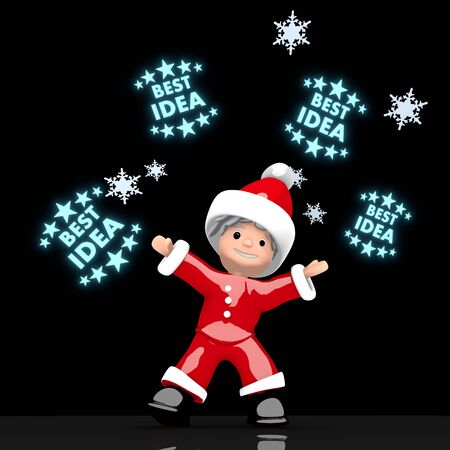think tank: a creative Santa Claus boy rendered 3d character juggles four blue glaring best idea label isolated on black background with snowflakes Stock Photo