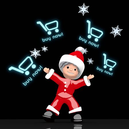 juggles: a little Santa Claus boy rendered 3d character juggles four blue glaring buy now sign isolated on black background with snowflakes Stock Photo