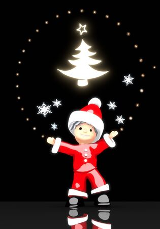 autumnn: a cute Santa Claus boy 3d character stands under a glaring shiny abstract christmas tree label light isolated on black background with snowflakes Stock Photo