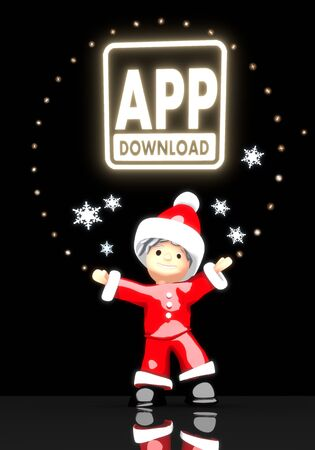 a childish Santa Claus boy 3d character stands under a glaring shiny app download sign light isolated on black background with snowflakes photo