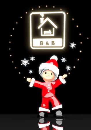 a cute Santa Claus boy 3d character stands under a glaring shiny bed and breakfast sign light isolated on black background with snowflakes photo