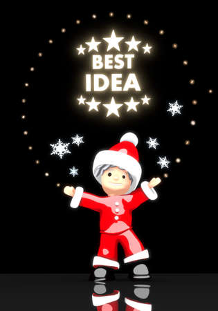 think tank: a cute Santa Claus boy 3d character stands under a glaring shiny best idea symbol light isolated on black background with snowflakes Stock Photo