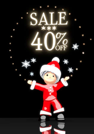 a childish Santa Claus boy 3d character stands under a glaring shiny Christmas sale 40 percent off label light isolated on black background with snowflakes photo