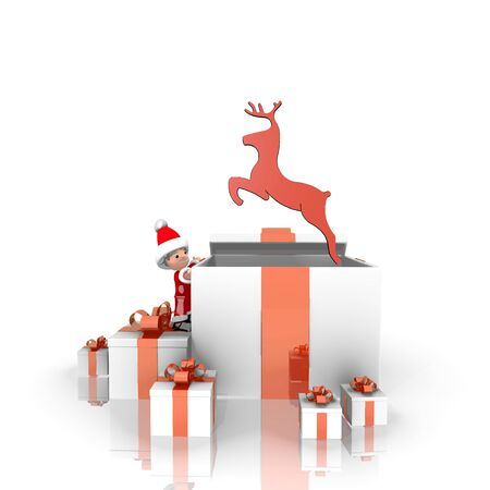 git: a childish Santa Claus boy 3d character stands on a row of christmas presents in the largest git the deer label is on top isolated on white background