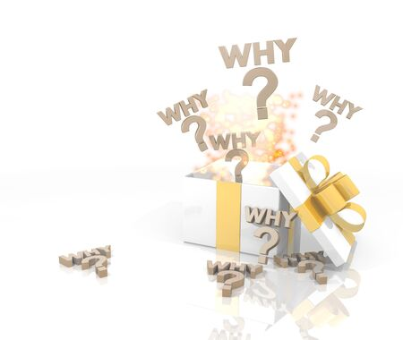 isolated 3d rendered gift on white background with glittering why icon coming out of it photo