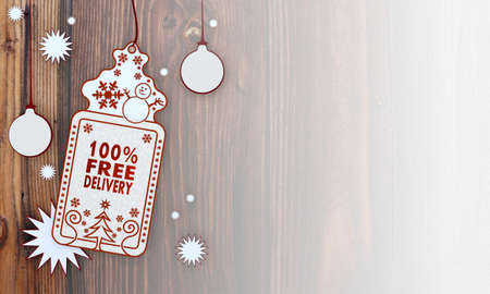 free illustration of a christmas card with 100 percent free delivery sign in front of a wooden background with gradient to white illustration