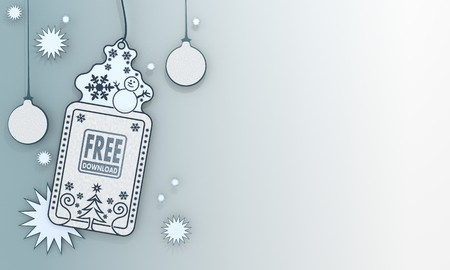 illustration of a christmas label with free download sign in front of a ice blue background with gradient to white and space for own content and text illustration
