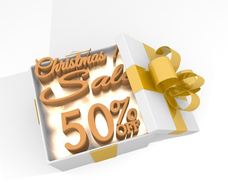 top 50 icon: isolated 3d rendered xmas present with glittering Christmas discount 50 percent off icon inside seen from top with white background