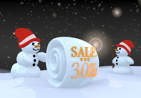 two 3d rendered happy snwoman in winter landscape with a Christmas sale 30 percent off label on a snowball photo