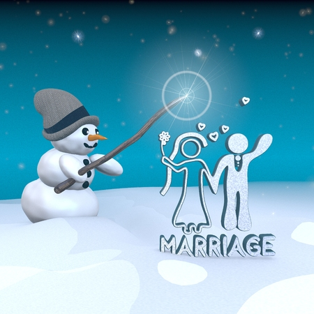 3d rendered snowman in snowy x-mas landscape with doing magic with a marriage sign  photo