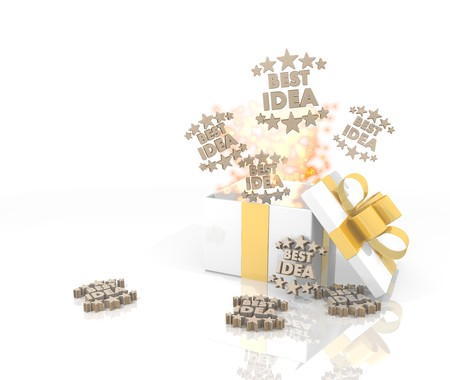 think tank: isolated 3d rendered gift on white background with glittering best idea icon coming out of it Stock Photo