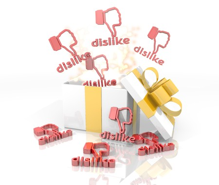 dislike it: isolated 3d rendered gift on white background with glittering dislike symbol coming out of it