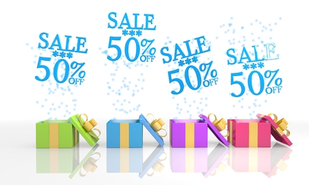 four on white background isolated 3d rendered gift boxes with isolated Christmas sale 50 percent off icon coming out of it photo