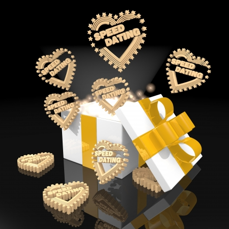 speed dating: nitfy 3d christmas present with magic sparks and speed dating icon on black background