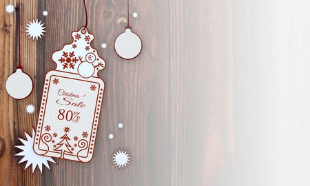 illustration of a christmas card with Christmas discount 80 percent off label in front of a wooden background with gradient to white illustration