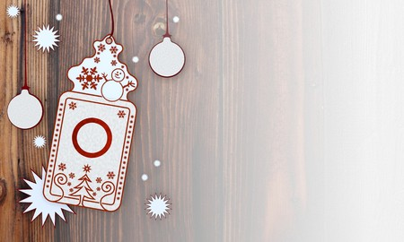 round illustration of a christmas card with circle sign in front of a wooden background with gradient to white illustration