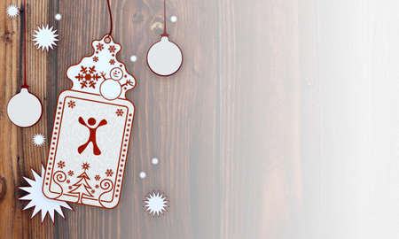 nice, illustration of a christmas card with happy character sign in front of a wooden background with gradient to white illustration