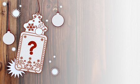 ? illustration of a christmas card with question label in front of a wooden background with gradient to white illustration