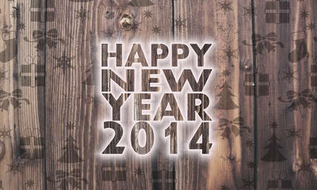Luxury Wooden Happy New Year Symbol On Wood With Burned In Christmas
