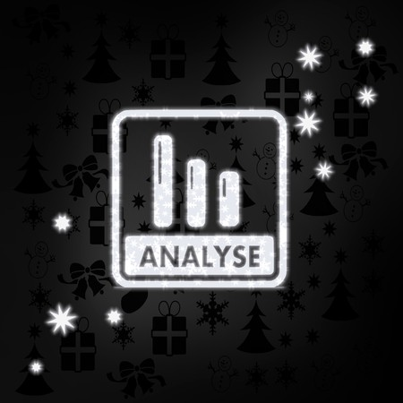 seasonal stylish analyse German for analysis symbol in black white with xmas icons in the background and presents and glaring stars photo