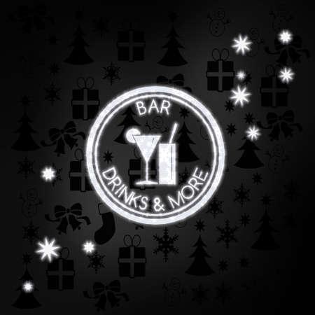 casse-cro�te: �l�gant �tiquette snack-bar de luxe en blanc noir avec des ic�nes de No�l en arri�re-plan et des cadeaux et des �toiles flagrantes