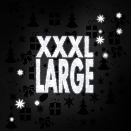 xl: decorative stylish XL label in black white with xmas icons in the background and presents and glaring stars