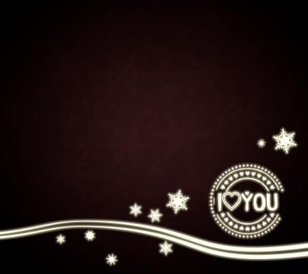 festive noble I love you template in dark red with christmas snowflakes and glaring stars photo