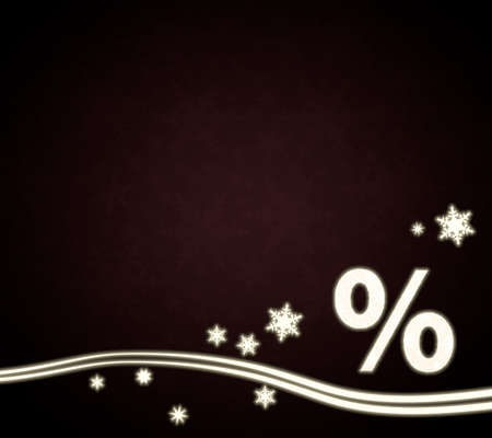 rebate: seasonal noble percent design in dark red with christmas snowflakes and glaring stars