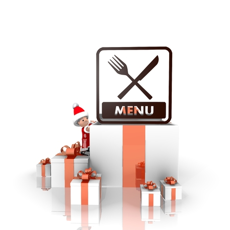 a cute Santa Claus boy 3d character stands on a row of christmas presents in the largest gift the menu symbol is on top isolated on white background photo