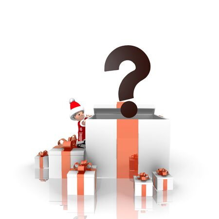 unresolved: a cute Santa Claus boy 3d character stands on a row of christmas presents in the largest gift the question label is on top isolated on white background