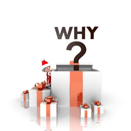 a little Santa Claus boy 3d character stands on a row of christmas presents in the largest gift the why symbol is on top isolated on white background photo