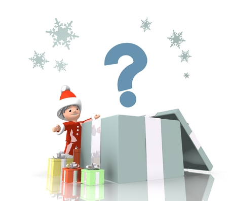 unresolved: vintage style unclear Santa Claus boy 3d character stands on a row of christmas presents in the largest gift a blue question sign is on top isolated on white background