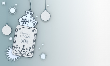 illustration of a christmas label with Christmas discount 50 percent off sign in front of a ice blue background with gradient to white and space for own content and text illustration