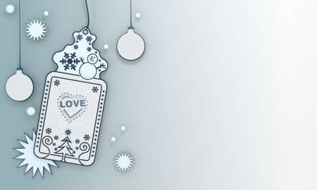 popping, illustration of a christmas label with heart with stars symbol in front of a ice blue background with gradient to white and space for own content and text illustration