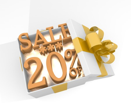 isolated 3d rendered xmas present with glittering Christmas sale 20 percent off icon inside seen from top with white