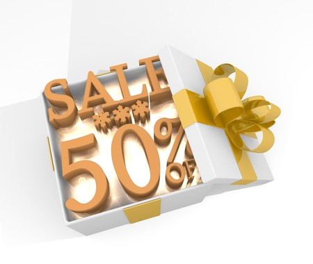 isolated 3d rendered xmas present with glittering Christmas sale 50 percent off icon inside seen from top with white background