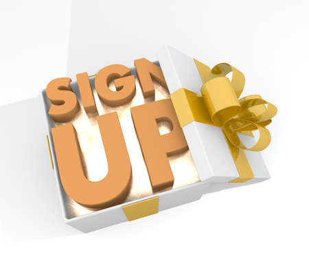 sign up icon: isolated 3d rendered xmas present with glittering sign up icon inside seen from top with white background Stock Photo